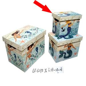 Caja con tapa de madera estampado de Sirena de 26x18x20cm
