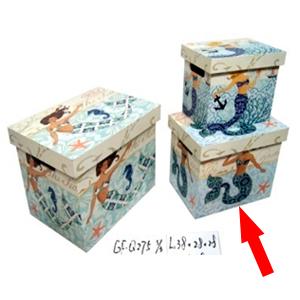 Caja con tapa de madera estampado de Sirena de 32x22x23cm