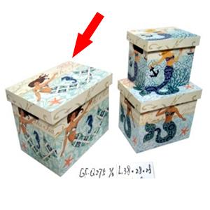 Caja con tapa de madera estampado de Sirena de 38x2828cm
