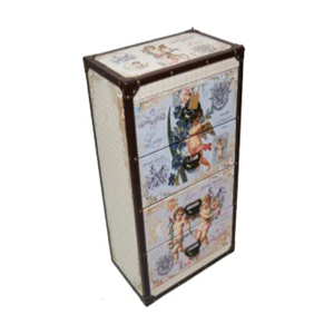 Cajonera de madera estampado de ángeles c/4 cajones de 45x28x75cm