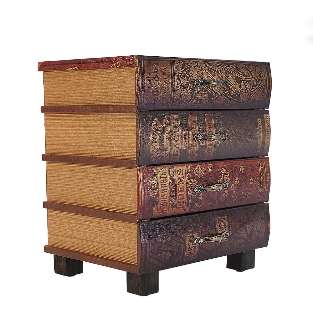 Archivero de madera de 4 cajones diseño libros de 30x25x31cm