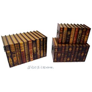 Baúl de madera rectangular diseño libros de 52x32x30cm
