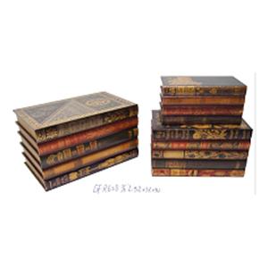 Baúl de madera rectangular diseño libros de 44x26x25cm
