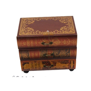 Caja de madera de 3 cajones diseño libros de 24x16x22cm