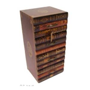 Archivero de madera con 4 cajones diseño libros de 24x21x50cm