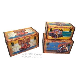 Baúl de madera rectangular diseño autos de 45x26x24cm