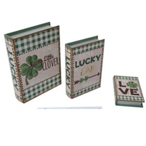 Caja porta libro de madera con estampado Trébol de 29x20x6cm
