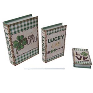 Caja porta libro de madera con estampado Trébol de 35x26x8cm