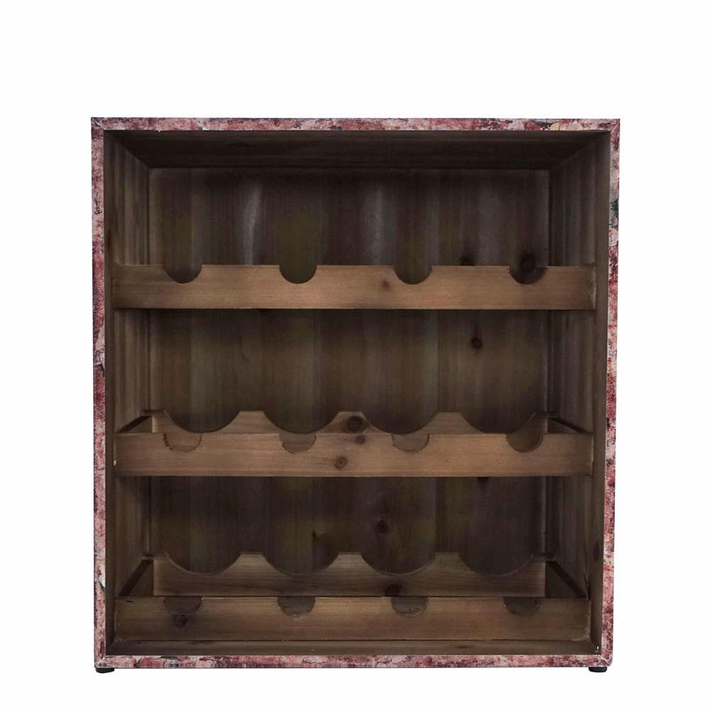 Porta botellas de madera cuadrado con estampado de botellas de 40x31x42cm