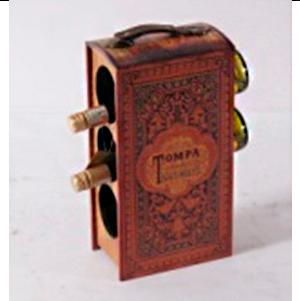 Porta botellas de madera diseño maletín con estampado vintage de 20x12x38cm