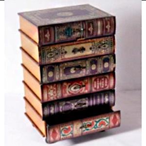 Caja de madera con 6 cajones diseño libros de 42x32x66cm