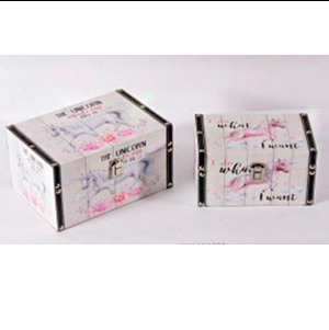 Caja rectangular de madera estampado de unicornio de 22x14x12cm