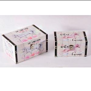 Caja rectangular de madera estampado de unicornio de 26x18x14cm