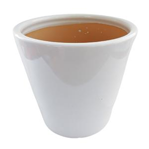 Maceta cilíndrica de cerámica blanca de 20x22cm
