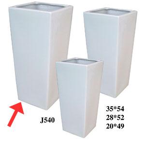 Maceta cuadrada de cerámica blanca de 35x54cm
