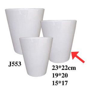 Maceta cilíndrica de cerámica blanca de 19x20cm