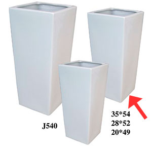 Maceta cuadrada de cerámica blanca de 28x52cm