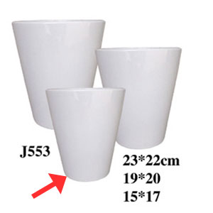 Maceta cilíndrica de cerámica blanca de 15x17cm