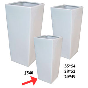Maceta cuadrada de cerámica blanca de 20x49cm
