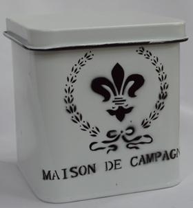 Caja de peltre blanca con tapa de 12x13 cm