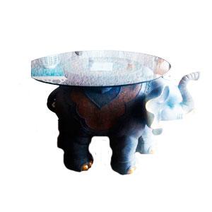 Mesa de resina diseño Elefante con cristal  de 90cm de diametro