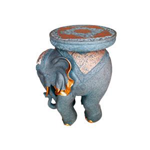 Banco de resina diseño elefante Hindu gris con dorado de 63cm
