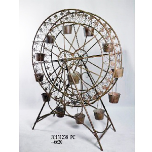 Rueda de la fortuna p/13 macetas d/metal terminado antiguo de 143x55x188cm