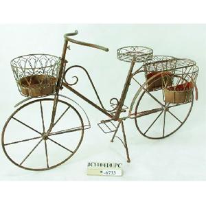 Bicicleta decorativa d/metal p/4 macetas termiando antiguo de 126x48.5x81cm