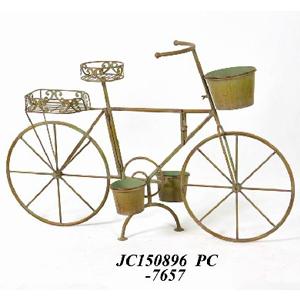 Bicicleta decorativa d/metal p/5 macetas terminado antiguo color verde de 107x32x69cm