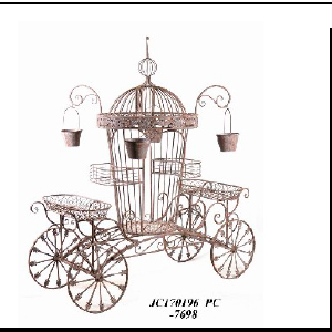 Carreta de metal para macetas terminado antiguo de 182X100X83cm