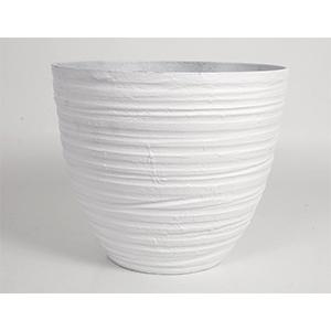 Maceta de plástico imitación porcelana blanca de 36x31x31cm