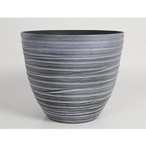 Maceta de plástico imitación porcelana gris de 36x31x31cm