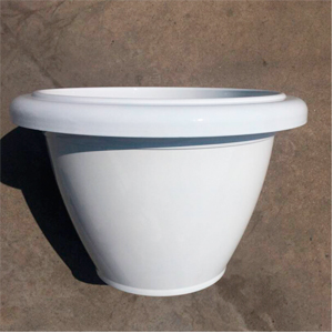Maceta de plástico imitación porcelana blanca de 45x34x34cm