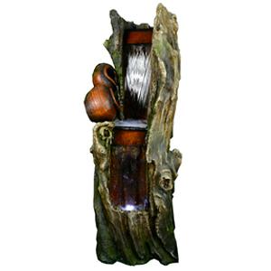 Fuente Diseño tronco con musgo y luz de 68x65x150cm