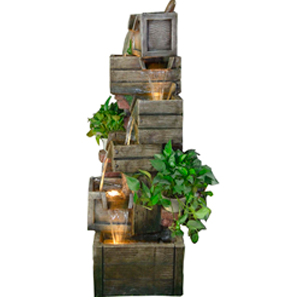 Fuente diseño cajas de madera con plantas y luz de 60x60x150cm