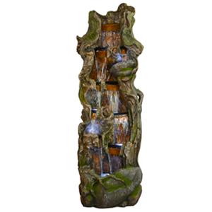 Fuente diseño tronco con piedras y luces de 90x76x221cm