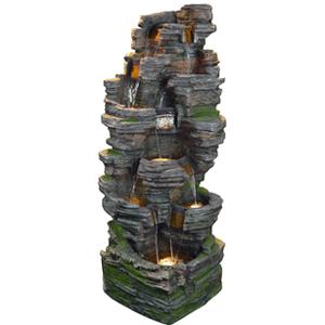 Fuente diseño Torre de piedras con luz de 65x84x165cm