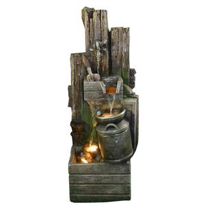 Fuente diseño maderas y Bote de leche de 48x37x100cm