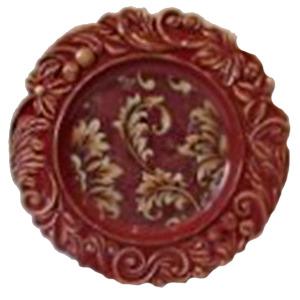 Plato de presentación rojo con guías en la orilla de 35cm