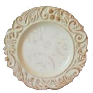 Plato de presentación beige con guías en orilla dorado de 35cm