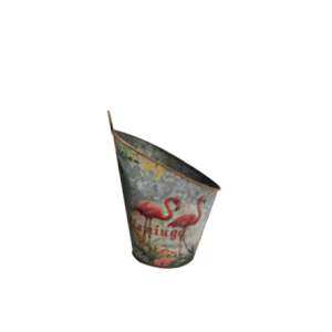 Maceta de pared diseño cubeta con estampado de flamingos de 20x17x26cm