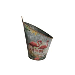 Maceta de pared diseño cubeta con estampado de flamingos de 22x19x27cm