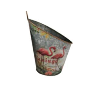 Maceta de pared diseño cubeta con estampado de flamingos de 24x20x29cm