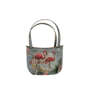 Maceta de lámina diseño bolsa con estampado de flamingos de 22x12x31cm