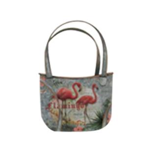 Maceta de lámina diseño bolsa con estampado de flamingos de 25x14x33cm