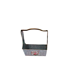 Maceta rectangular de lámina con asa estampado de campo lavanda de 29x10x31cm
