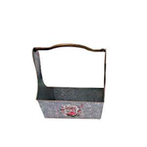 Maceta rectangular de lamina con asa estampado de campo lavanda de 31x12x35cm