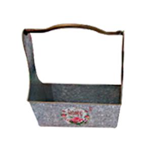 Maceta rectangular de lamina con asa estampado de campo lavanda de 35x15x38cm