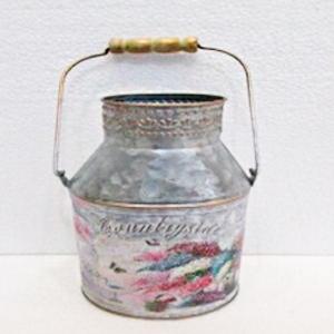 Bote para leche de lámina con estampado de flores de 9x24x33cm