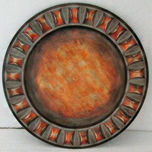 Plato de presentación terminado rustico con cuadros en la orilla de 33cm
